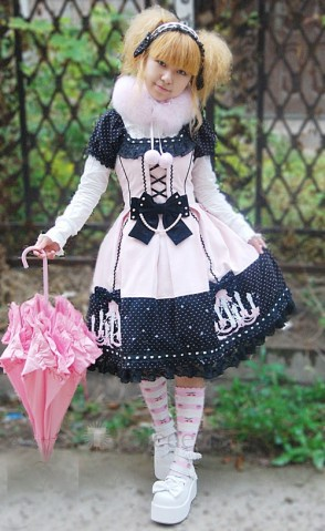 Pink Lolita Dress with Black Bow and EmbroideryIMG_0030 (1)