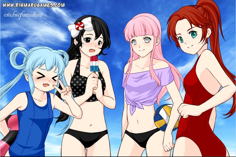 Summer anime girls dress up